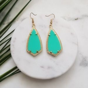 5 for $25 Gold and Teal Geometric Earrings